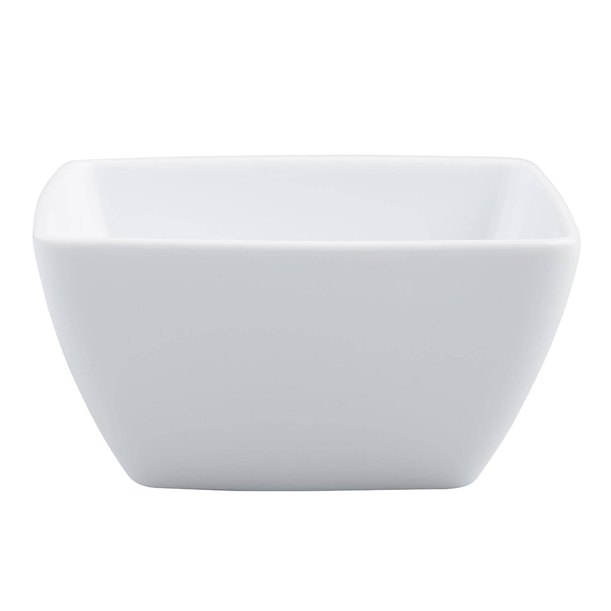 White Square Coupe Bowls, set of 4 - Porcelain by World Market