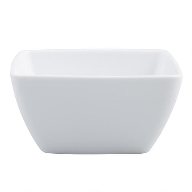 Square White Porcelain Coupe Bowls Set Of 4