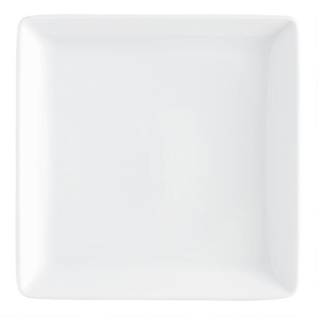 White Square Coupe Salad Plates, set of 4