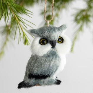 faux fur owl ornaments set of 4 - Rustic Christmas Ornaments