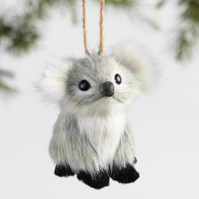 Faux Fur Koala Ornaments Set of 3