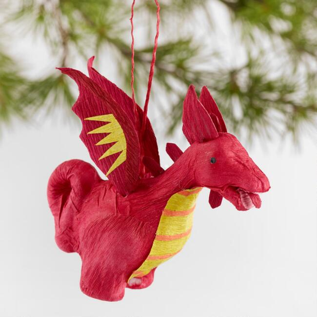 Hand Cut Paper Dragon Ornaments Set of 4