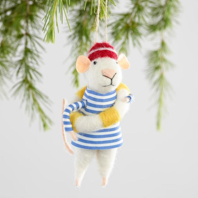 Felted Wool Sailor Mouse Ornaments Set of 3