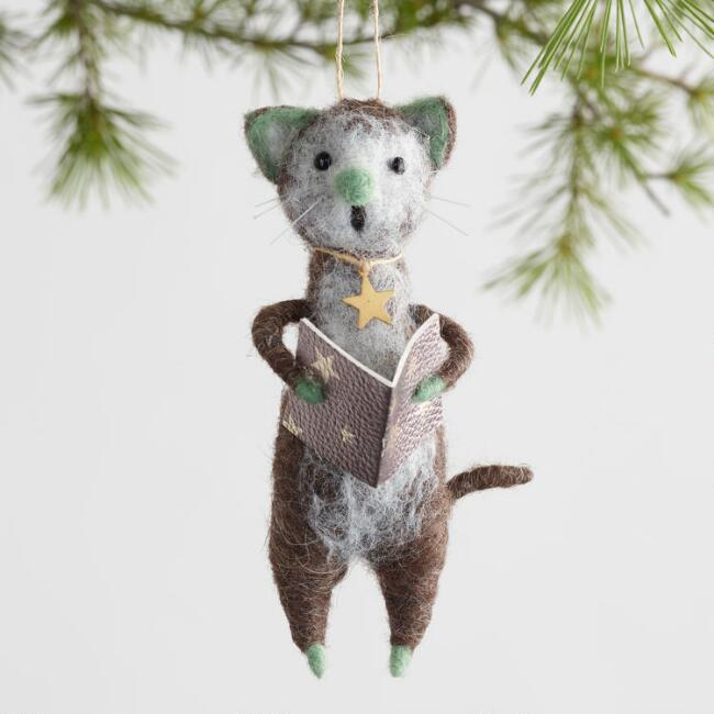Felted Wool Caroler Cat Ornaments Set of 3