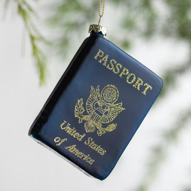 Glittered Glass Passport Ornament
