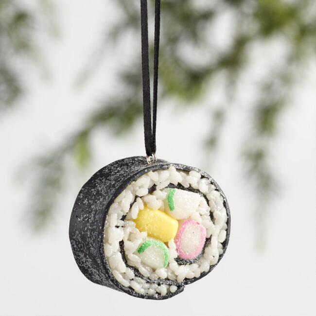 Glittered Clay Sushi Ornaments Set of 3