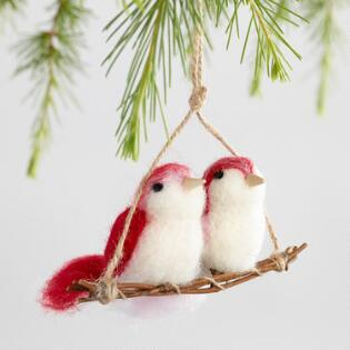 Felted Wool Bird Couple On Perch Ornaments Set Of 2
