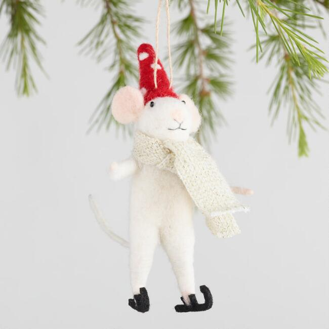 Felted Wool Winter Mouse Ornaments Set of 3