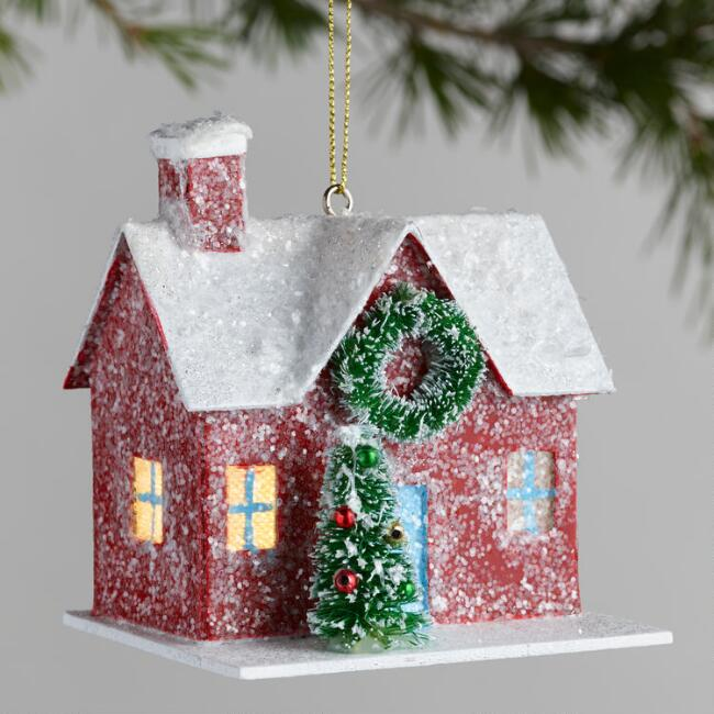 retro paper house led light up ornaments set of 3