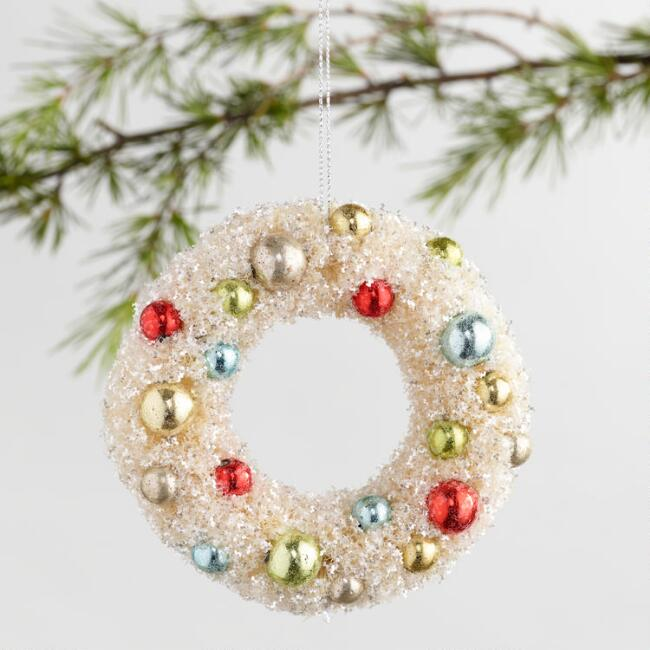 Retro Bottlebrush Wreath Ornaments Set of 2