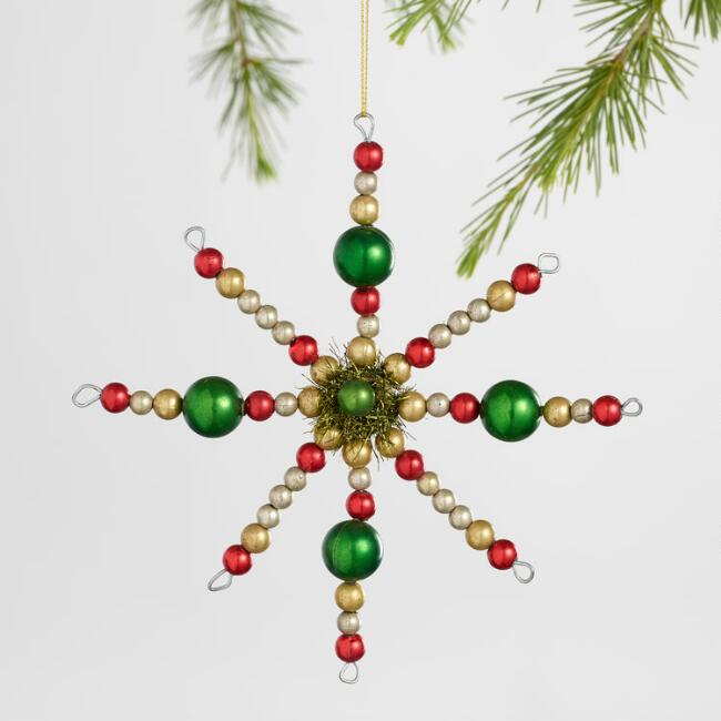 Retro Beaded Snowflake Ornaments Set of 2