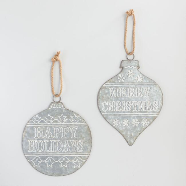 Oversized Retro Galvanized Metal Ornament Decor Set of 2