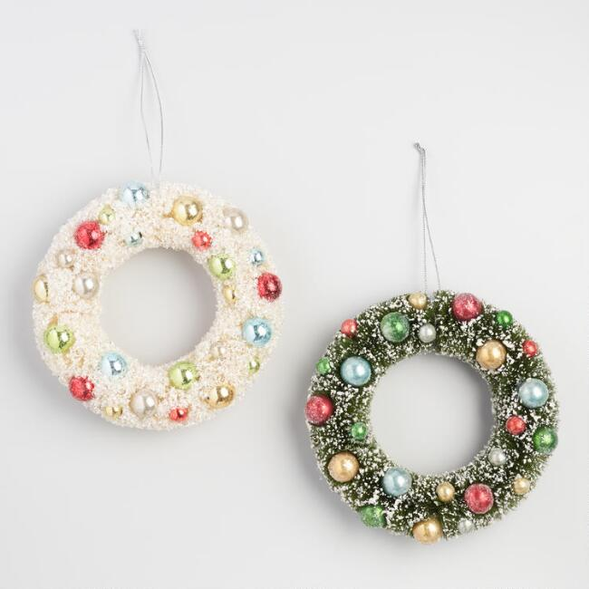 Retro Bottlebrush Wreath Hanging Decor Set of 2