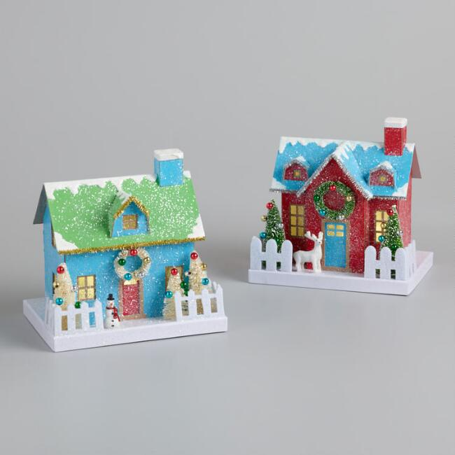 Retro Paper House LED Light Up Decor Set Of 2