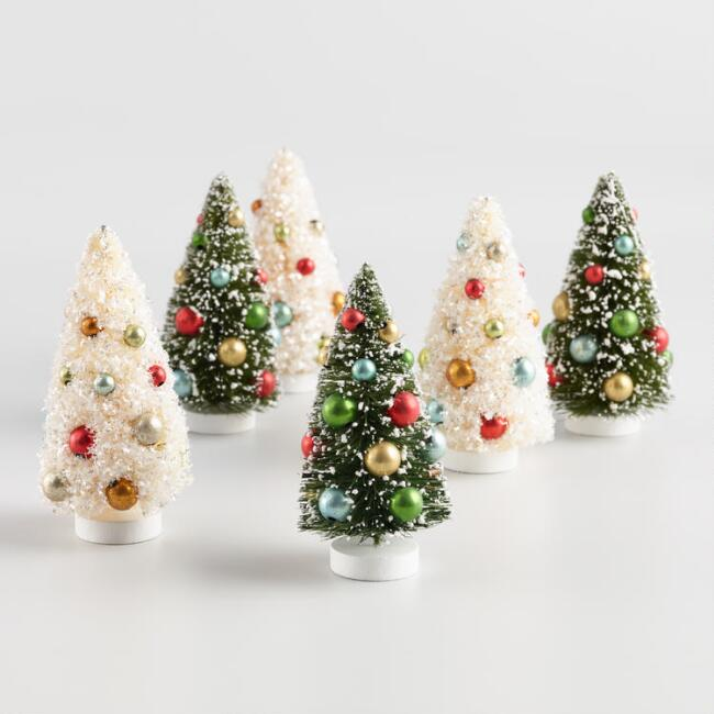 3 Pack Retro Bottlebrush Tree Decor Set Of 2