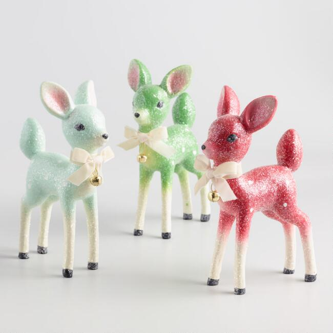 Retro Paper Pulp Deer Decor Set of 3