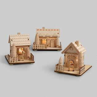 wood scandi house led light up decor set of 3 - Christmas Home Decor