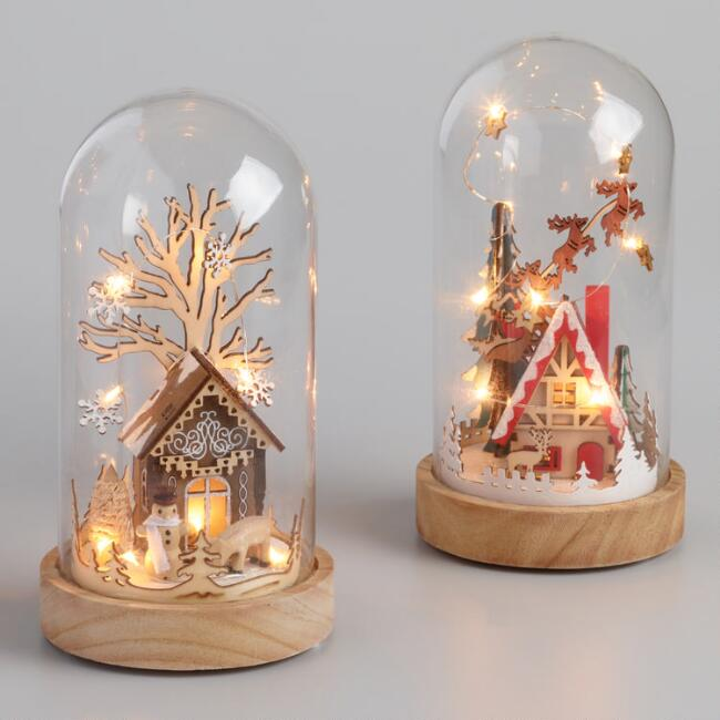 Wood House in Glass Cloche LED Light Up Decor Set Of 2