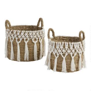 Large Natural Seagr Haven Basket With White Macrame