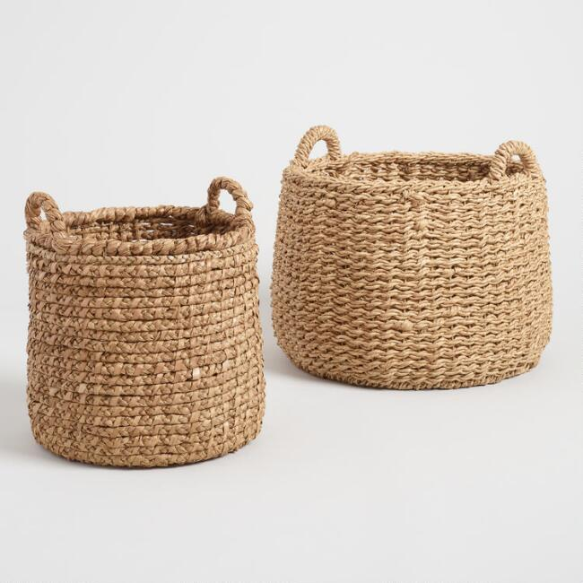 Natural Hyacinth Noelle Tote Baskets