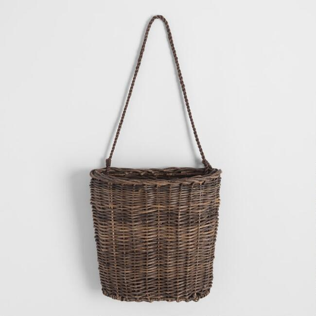 Brown Rattan Flat Back Daria Hanging Basket