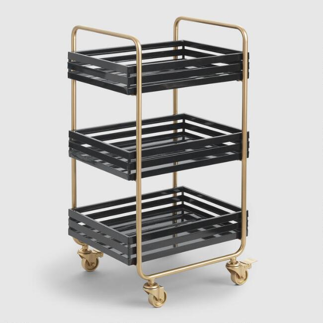 Gold And Black Metal 3 Tier Carson Rolling Cart