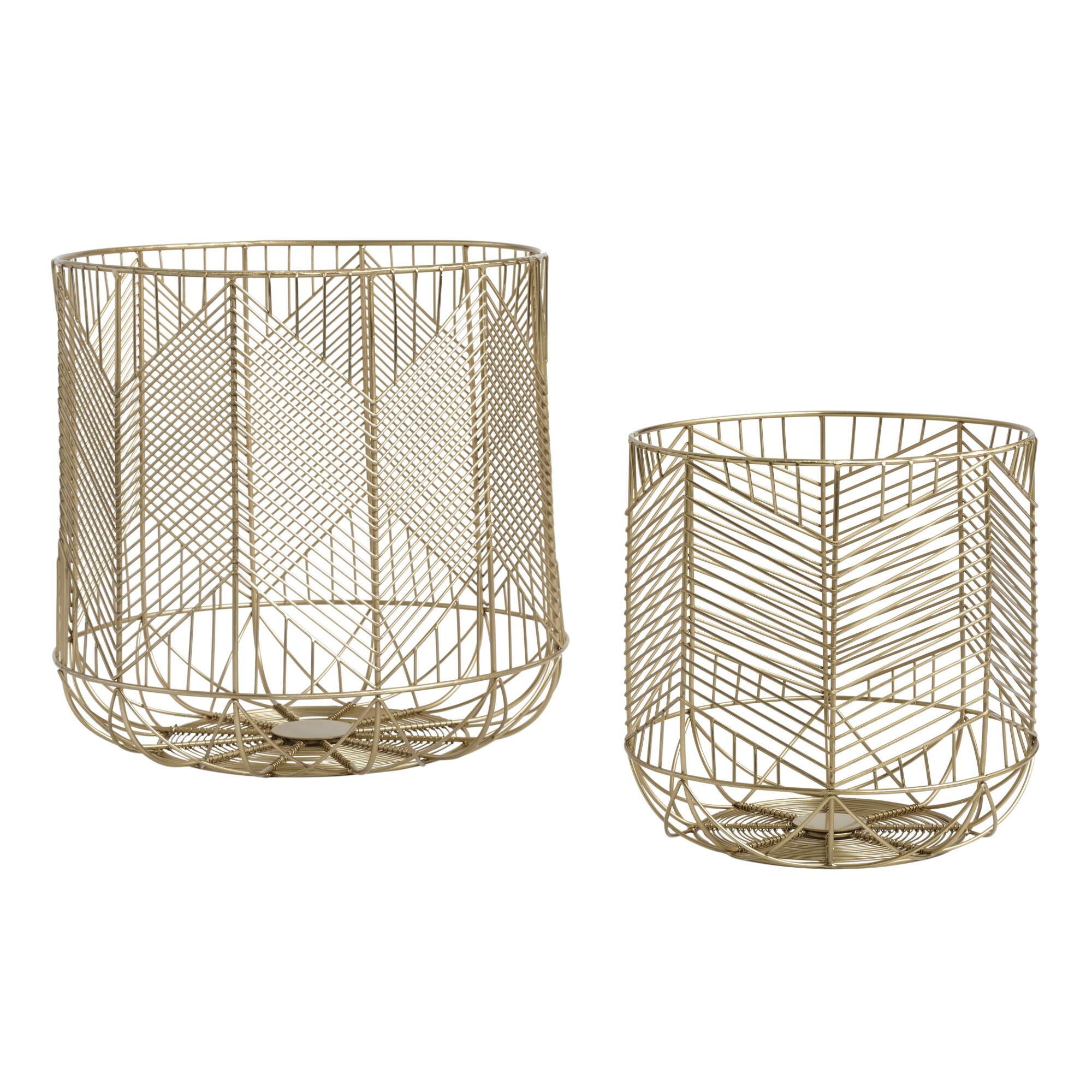 Gold Wire Geometric Reese Baskets - Small by World Market Small