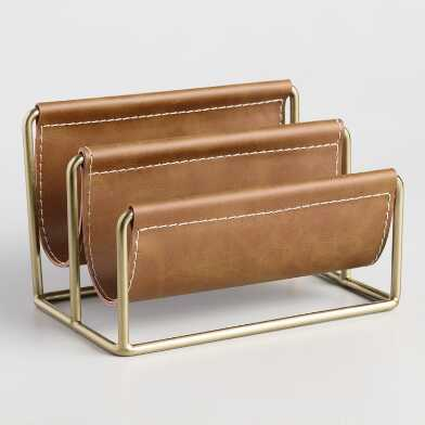 Brown Faux Leather Grayson Letter Holder
