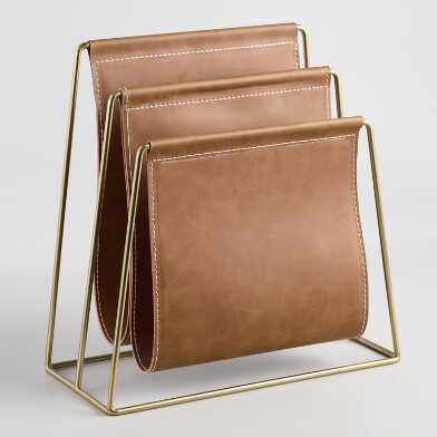 Brown Faux Leather Grayson File Holder