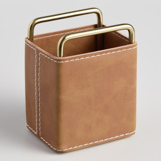 Brown Faux Leather Grayson Pencil Cup