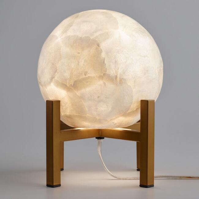 White Capiz Orb Desk Lamp with Gold Stand