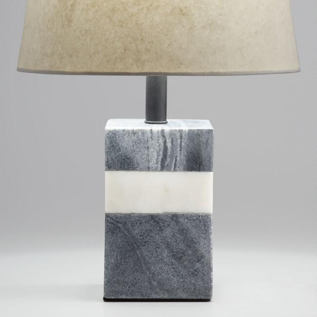 Rectangular Black and White Marble Accent Lamp Base