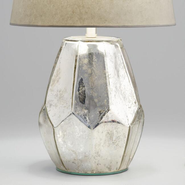 Antique Mercury Faceted Glass Accent Lamp Base
