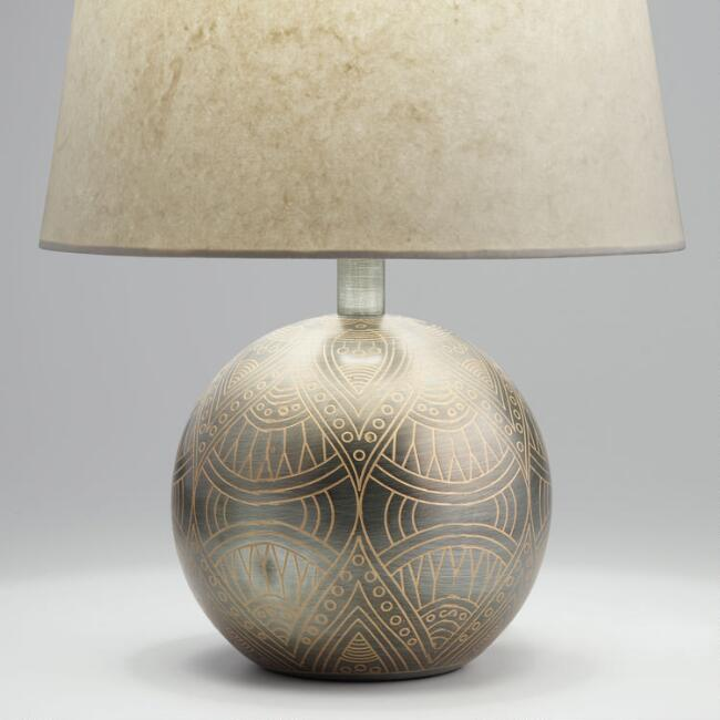 Antique Zinc Etched Mandala Orb Accent Lamp Base