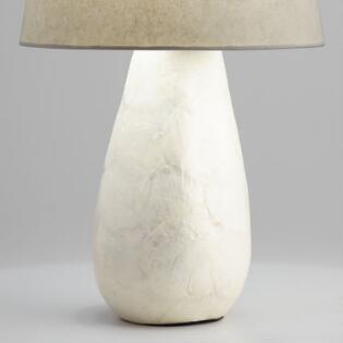 White Capiz Teardrop Table Lamp Base