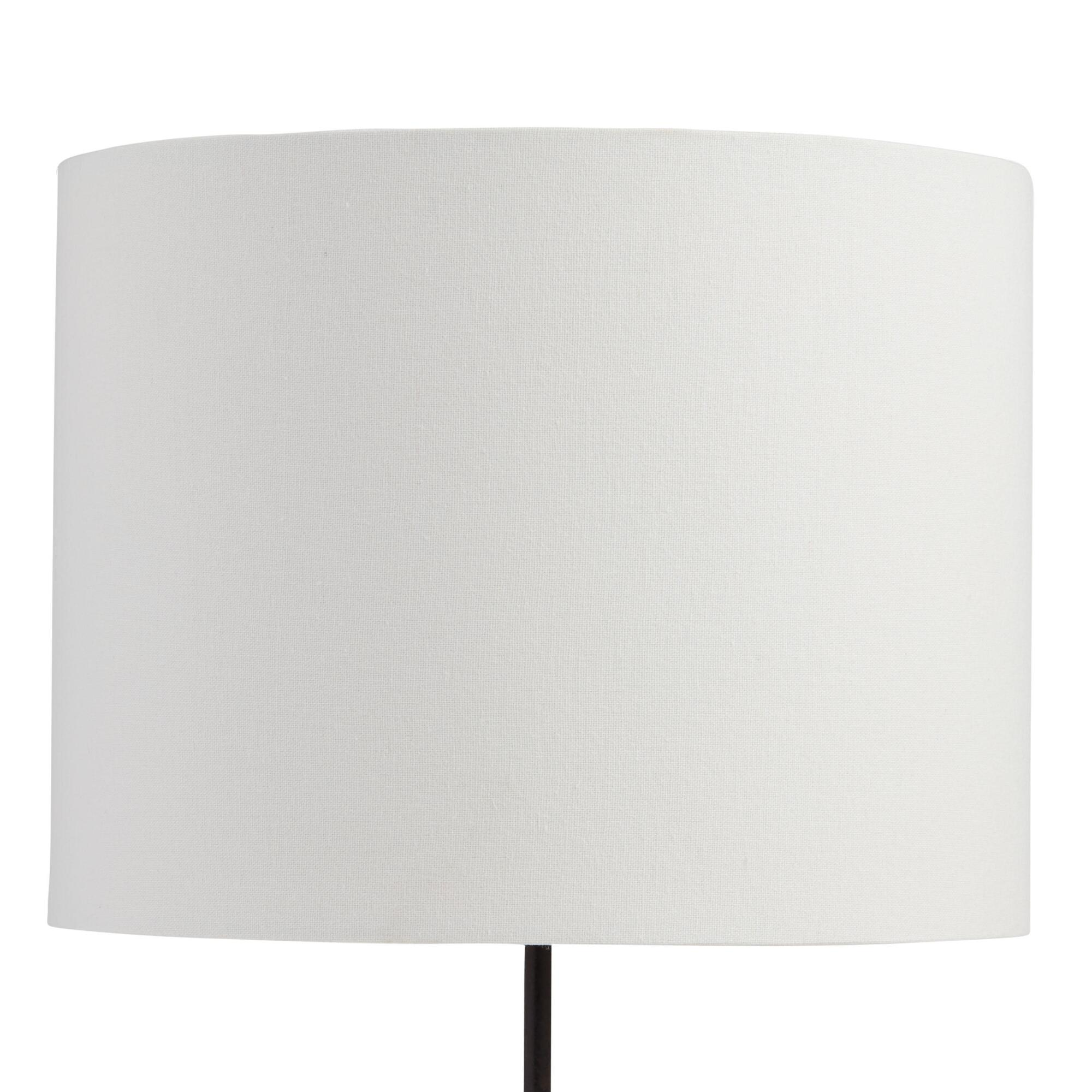 White Linen Drum Table Lamp Shade with Gold Lining by World Market