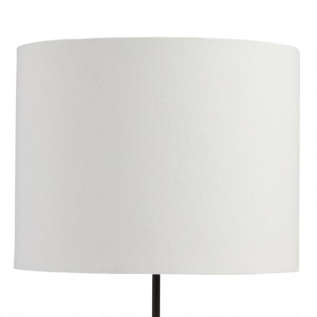 White Linen Drum Table Lamp Shade with Gold Lining