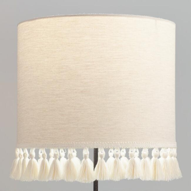 Natural linen drum table lamp shade with light gray tassels world natural linen drum table lamp shade with light gray tassels aloadofball Images