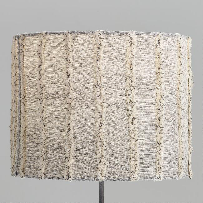 Marbled Gray Textured Drum Table Lamp
