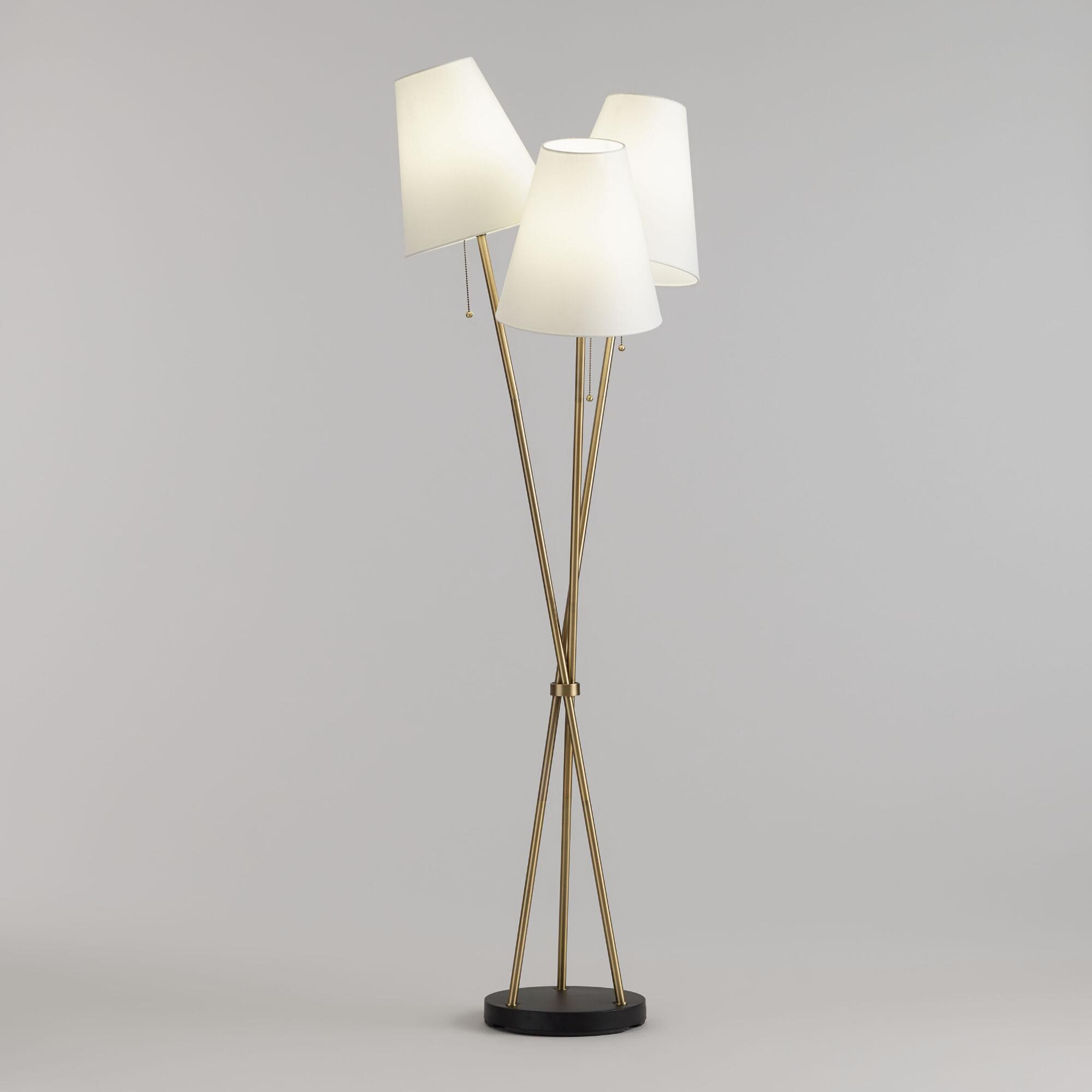 Brass and White Shade 3 Light Florence Cluster Floor Lamp by World Market