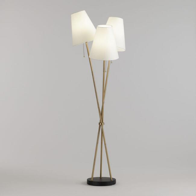 Br And White Shade 3 Light Florence Cer Floor Lamp