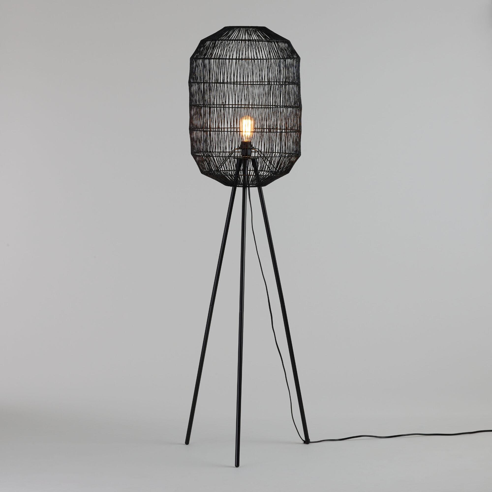 Matte Black Tripod Floor Lamp with Woven Rope Lamp Shade Set by World Market