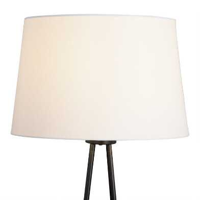 White Linen Drum Floor Lamp Shade with Gold Lining