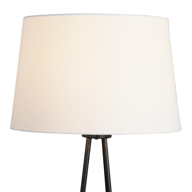 White Linen Floor Lamp Shade with Gold Lining