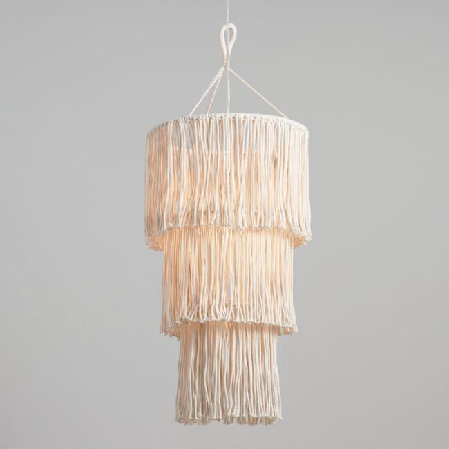White Cotton Macrame 3 Tier Pendant Lamp