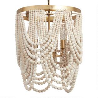 Whitewash Wood D Bead 4 Light Chandelier
