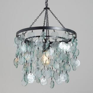 Pendant lighting light fixtures chandeliers world market aqua draped sea glass disc pendant lamp mozeypictures Choice Image
