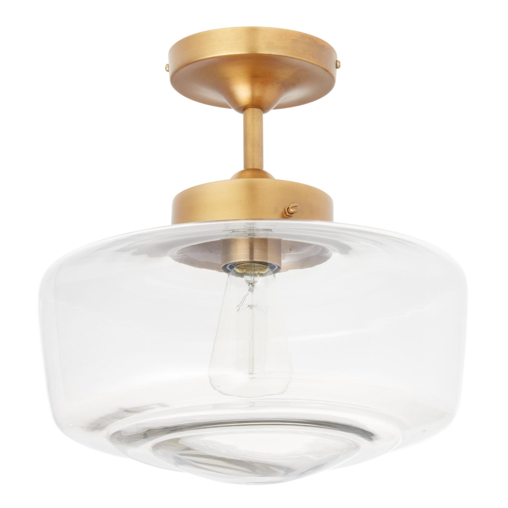 Brass and Glass Dome Semi Flush Mount Ceiling Light by World Market