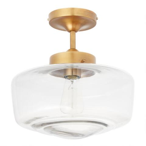 new style 53ec0 bdff1 Brass and Glass Dome Semi Flush Mount Ceiling Light