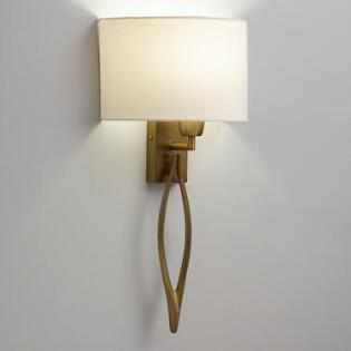 Antique Brass Wall Sconce With White Linen Shade